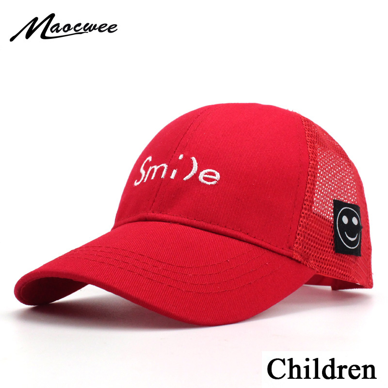 Children Smile letter embroidery   Baseball     Cap   Mesh Hat Boys Girls Kids Snapback Summer tourism sunshade Sun hat Hip Hop   Caps