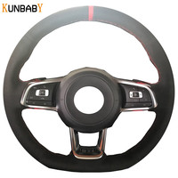 KUNBABY Black Suede Hand stitched Car Steering Wheel Cover for Volkswagen Golf 7 GTI Golf R MK7 VW Polo GTI Scirocco 2015 2016