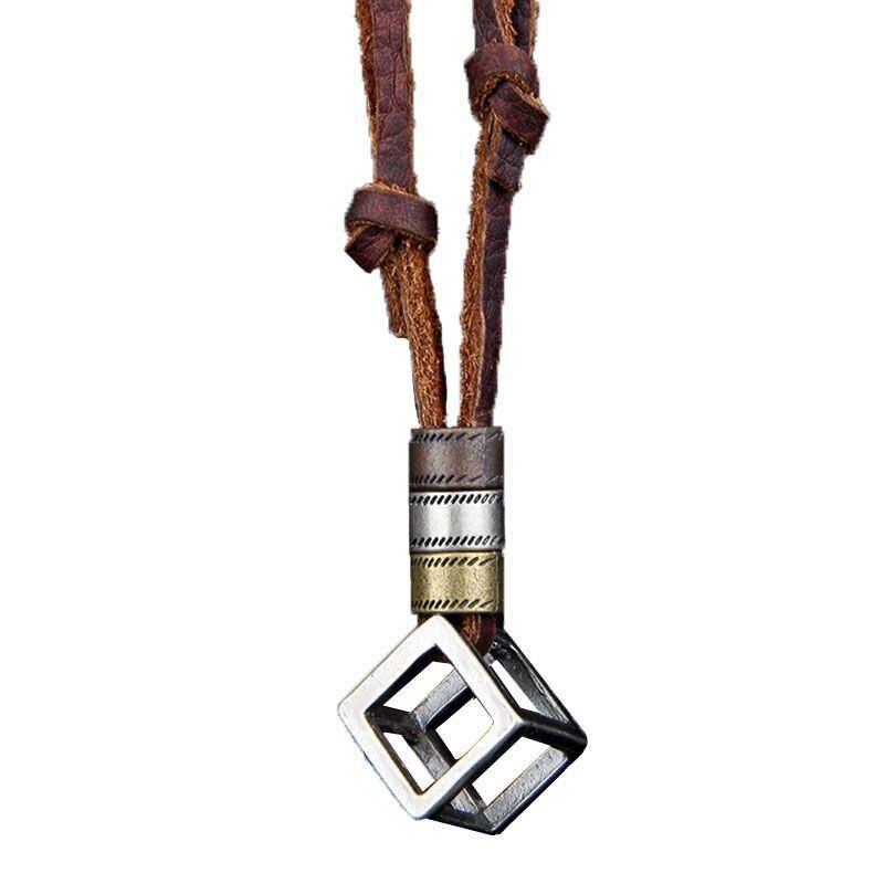 NIUYITID mężczyźni skórzany naszyjnik i wisiorki Retro długi czarny brązowy łańcuch liny regulowany koło biżuteria ze stopu kobiety naszyjnik