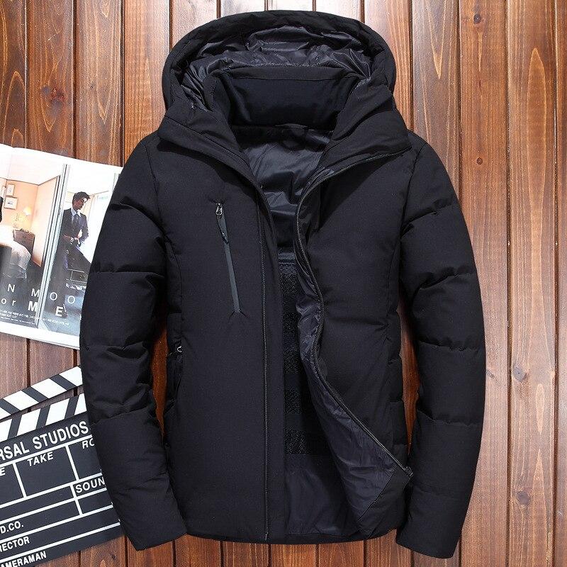 الشتاء بطة أسفل سترة الرجال 2019 للماء صامد للريح الشتاء سترة معطف الصلبة مقنعين عارضة أبلى الملابس M 3XL-في جواكت قصيرة من ملابس الرجال على  مجموعة 1