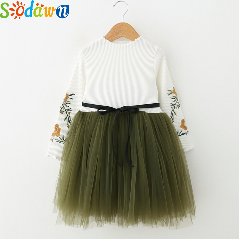 Sodawn Autumn New Children Clothing Embroidery Design Speaker Sleeves Dress Fashion Sweet Rope Princess Dress Girls Clothes