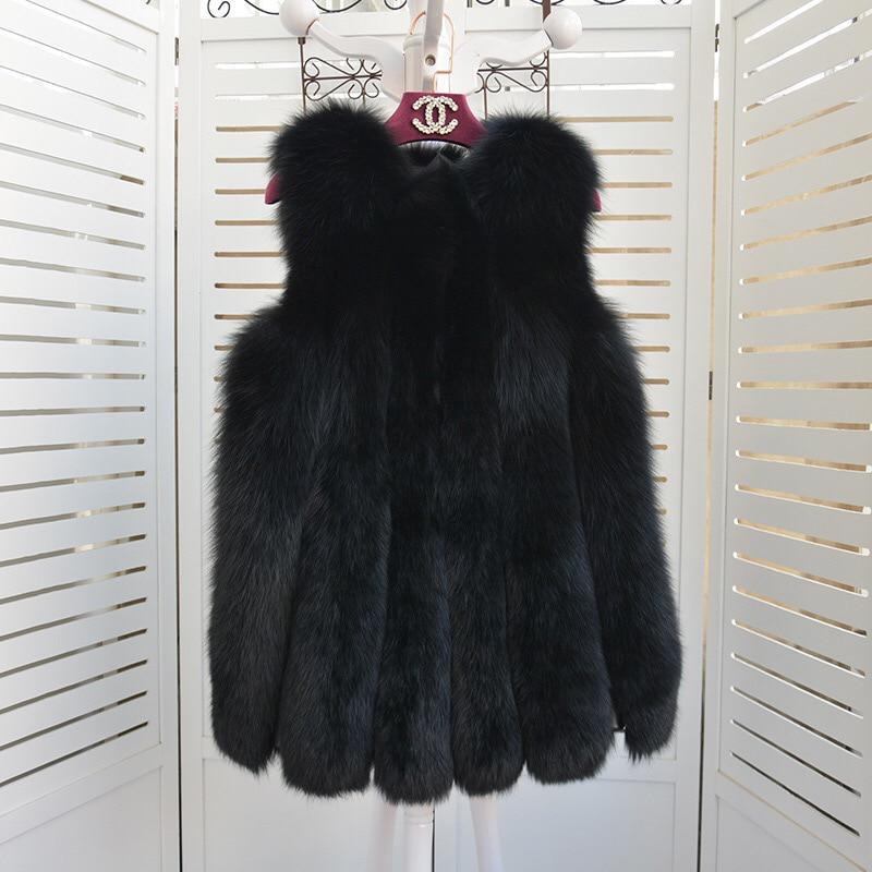 Tradea380 Étrangères Réel Sauvage Horizontale 006 Haute Gilet Manteau White Importés Fourrure black Longue Qualité 2017 Renard De OnwFqAxSqT