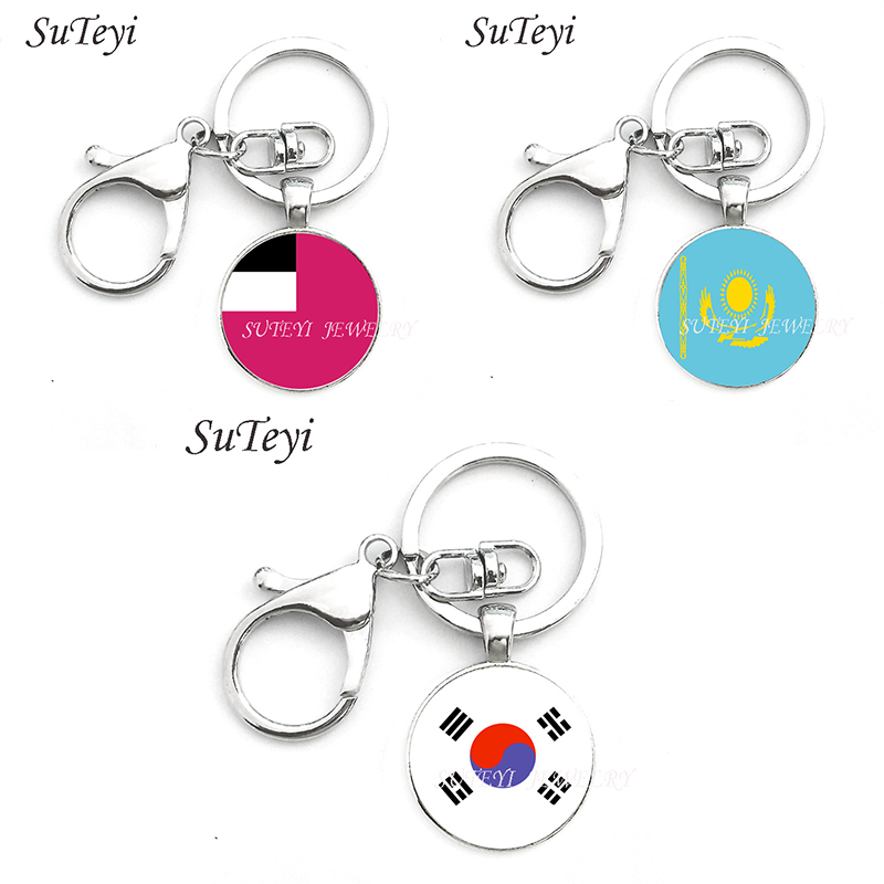 Georgia And Kazakhstan And South Korea Flag Key Chain Charm Flag Picture Print Glass Dome Alloy Keyring Of National Patriot Gift