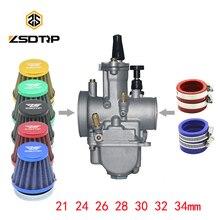 ZSDTRP 2/4T PWK21 24 26 28 30 32 34mm คาร์บูเรเตอร์กรองอากาศท่อสำหรับ 50CC 125cc PIT Dirt BIKE ATV