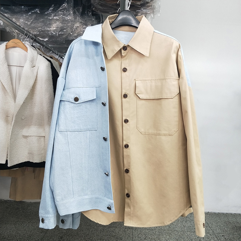 LANMREM 2019 Autumn New Stitching Turn-down Collar Long-sleeved Fashion Blouse Fashion Wild Color Trend Casual Loose Shirt TC021