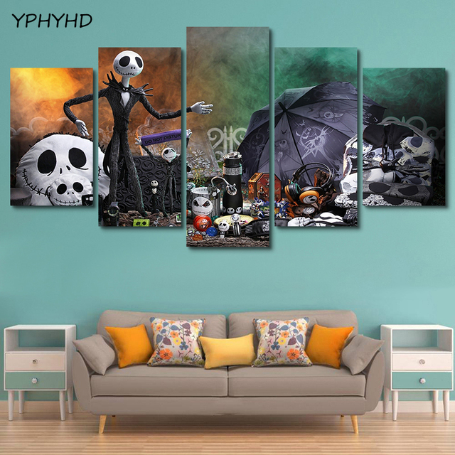 Us 6 0 Yphyhd 5 Pieces Nightmare Before Christmas Jack Skellington Home Wall Decor Canvas Picture Art Hd Print Painting Canvas Artwork In Painting