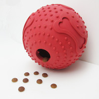 Nuevo caucho divertido juguete del dispensador del alimento perro gato jugar inteligencia desarrollo juguete masticar bola Juguetes de perros (rojo)
