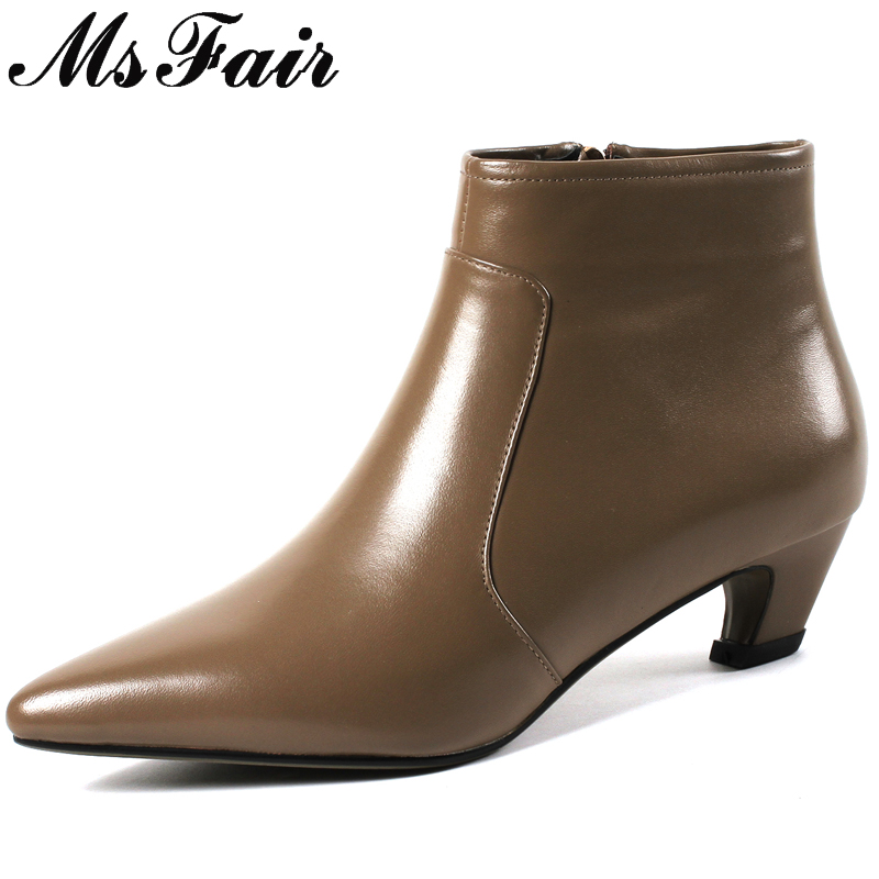 MSFAIR Pointed Toe Spike Heels Women Boots Fashion Metal Zipper Ankle Boots Women Shoes Med Heel Black Brown Boots Shoes Woman цена