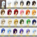Full Lace Short Virgin Wigs 35cm Cosplay hair Japanese Anime Game 24Colors Free Hair Shape Synthetic Perform Natural Wig 9-24#