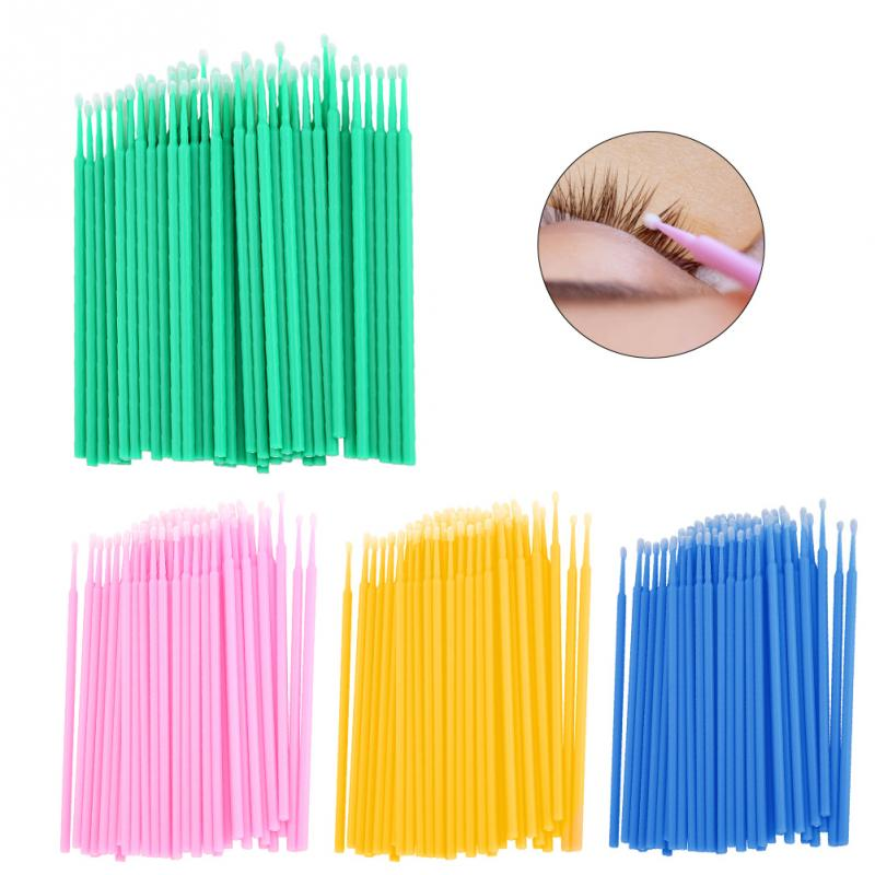 Cleaning Cotton Swabs 400PCS Microbrushes Disposable Cotton Stick Tattoo Eyelash Extension Individual Lash Removing Cotton Swabs