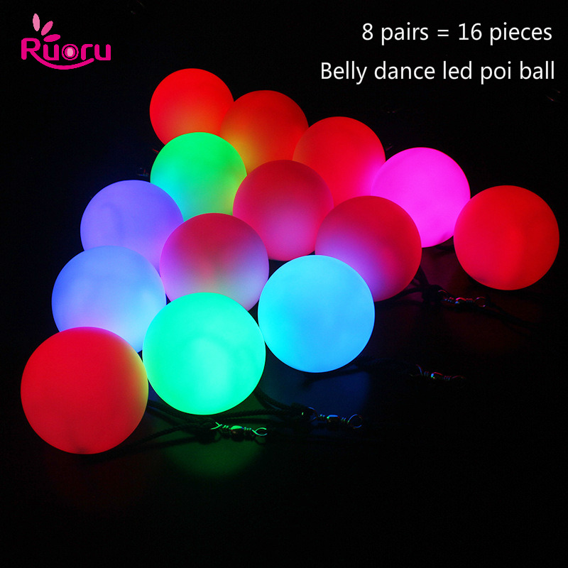 Ruoru 16 Pieces = 8 Pair Belly Dance Ball RGB Glow LED POI Thrown Balls For Belly Dance Hand Props Stage Performance Accessories