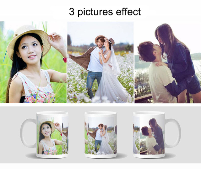 Drop shipping DIY Photo Magic Color Changing Mug,custom your photo on Tea cup,unique Ceramic Coffee Cup best gift for friends 3