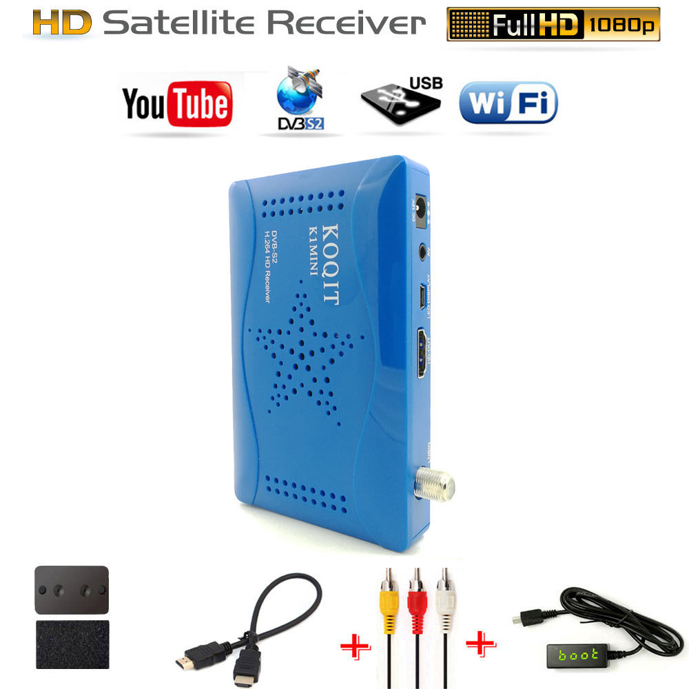 Free To Air KOQIT HD AC3 Digital DVB-S2 Satellite Receiver tuner DVB S2 Receptor Biss Vu Cam Decoder Youtube tv Wifi Set-Top Box