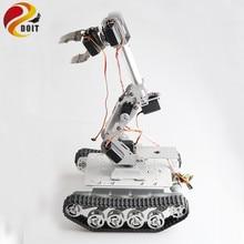 цена на SZDOIT Wifi/Bluetooth/Handle Control 8DOF Metal Robot Arm With Gripper+Smart Tank Chassis Kit Robotic Platform Servo For Arduino