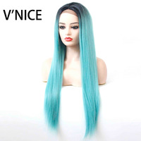 V'NICE Ombre Turquoise Synthetic Lace Front Straight Wig Middle Part Heat Resistant Fiber Black Roots to Pastel Blue Women Wig