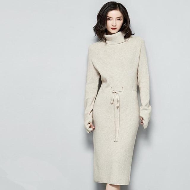 Knitted Dress Women Slim Casual Autumn Winter Long Sleeve Thicken Warm turtleneck Sweater Dresses