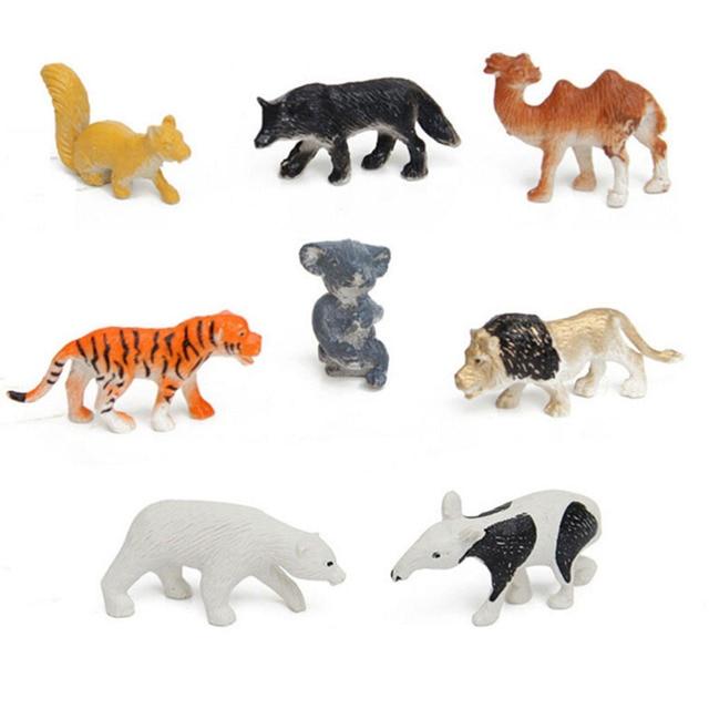 Hot 8pcs Set Multi Colored Plastic Zoo Animal Figure Tiger Leopard