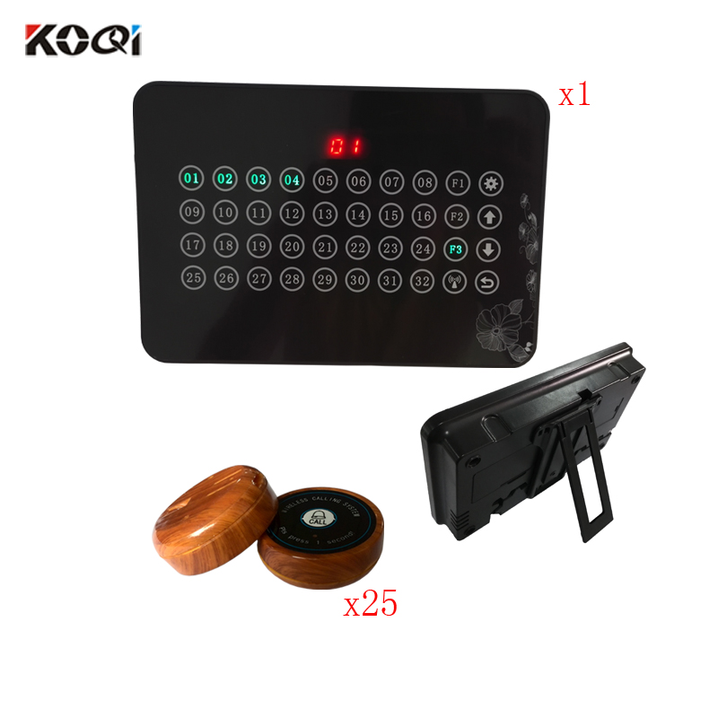 Waiter Paging System Ycall Table Call Bell Buttons Customer Calling To Waiters 100- 200M Remote Buzzer(1 display+25 call button) sticker