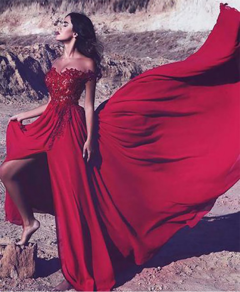 Smileven Side Split Formal Red Prom Dress 2019 Off The Shoulder Evening Gowns Sexy Beaded Party Prom Gowns in Prom Dresses from Weddings Events