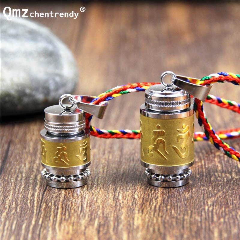 Acero de titanio budismo seis palabras collar giratorio Om Mani Padme Hum oración rueda Mantra botella urna collar joyas conmemorativas