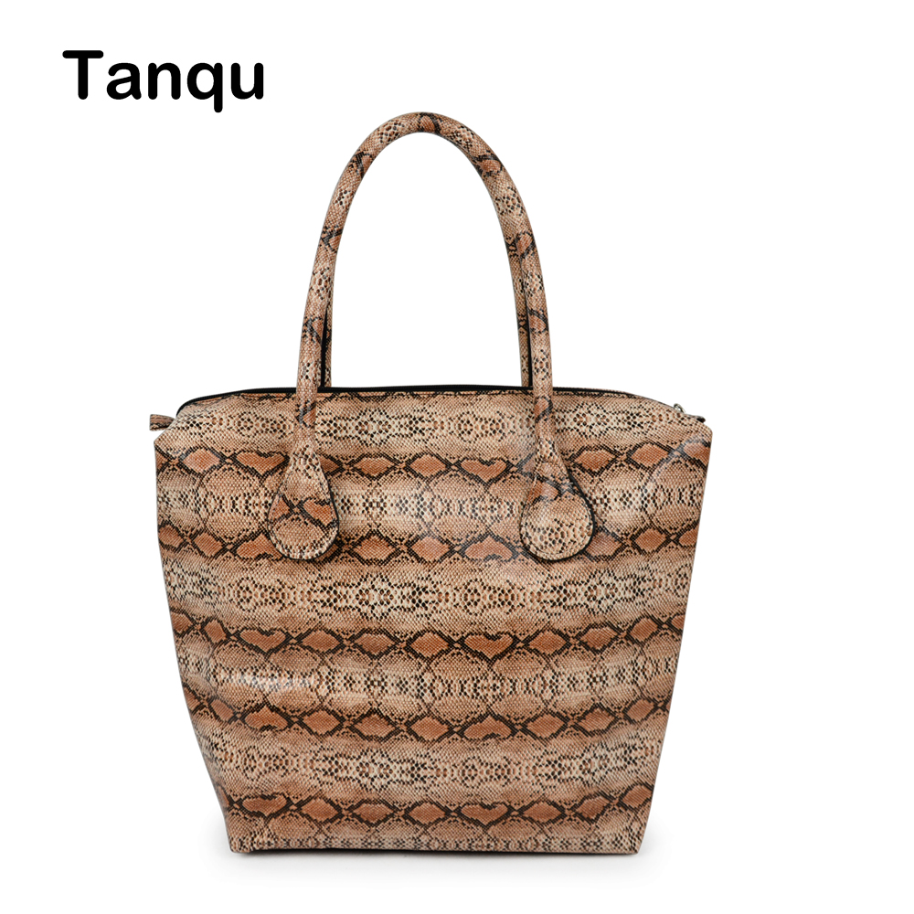 TANQU Waterproof Faux Snakeskin leather Serpentine Insert Inner Plus Handle combination for Classic Mini Obag O Bag Handbag dark blue zippered faux leather handle conference file contract bag container