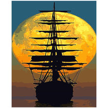 Painting By Numbers DIY Dropshipping 40x50 50x65cm Moonlight ghost ship Still life Canvas Wedding Decoration Art picture Gift(China)