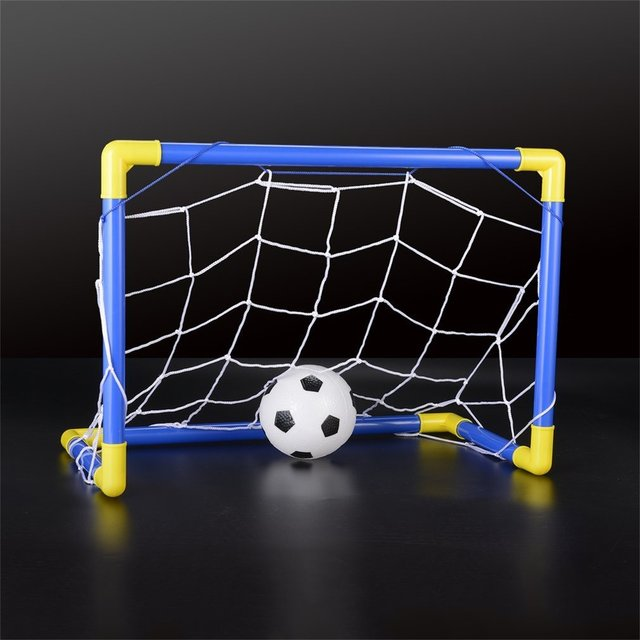 Folding Mini Football Soccer Goal Post Net Set With Pump Kids Sport Indoor  Outdoor Games Toys
