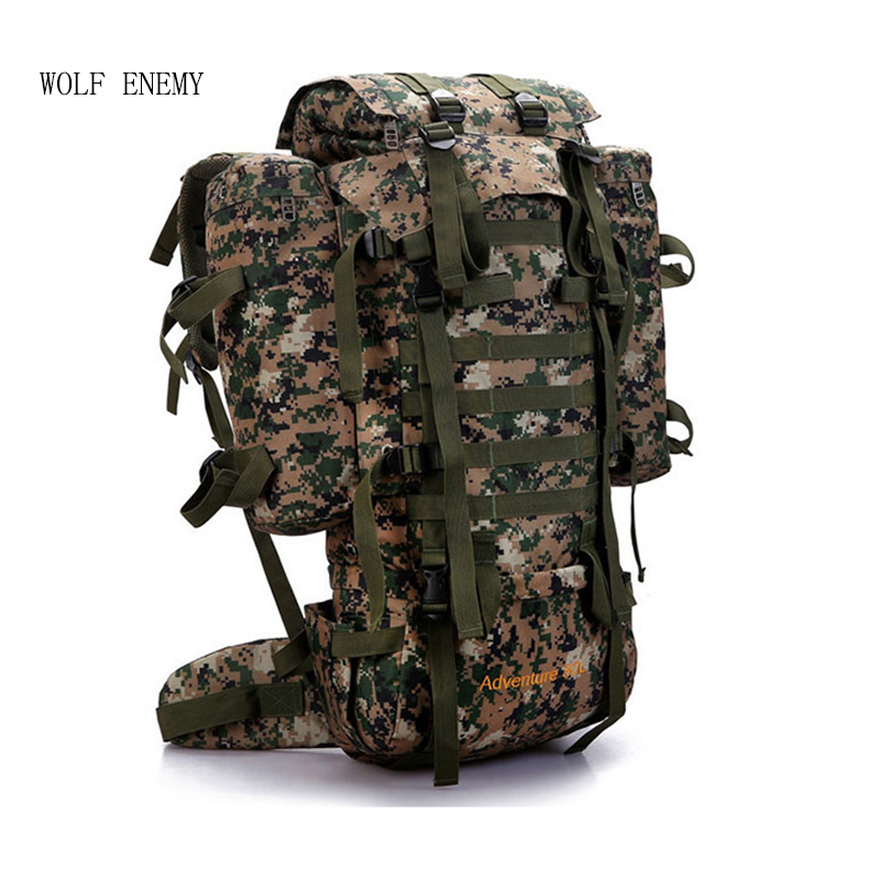 80L Outdoor Military Tactical Camouflage Bag Large Capacity Men Women Camping Hiking Mountaineering Waterproof Travel Backpack 80l outdoor backpack large capacity camping camouflage military rucksack men women hiking backpack army tactical bag