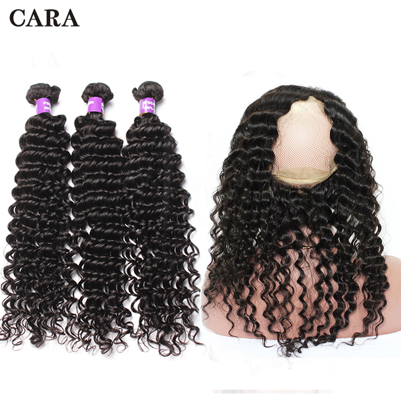360 Lace Frontal With Bundle Deep Wave Bundles 3 PCs Pre Plucked Brazilian Human Hair 360 Lace Frontal Closure CARA Remy Hair