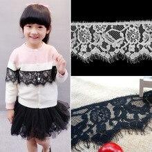 ZOTOONE 8.5*300CM Black White Soft Eyelash Classic Lace Trim Decoration Crafts Sewing for Dress Making E