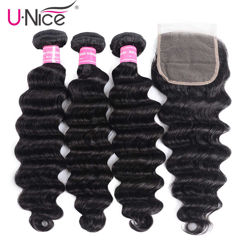 Unice Hair Loose Deep Wave Bundles With Closure Human Hair Bundles With Closure Hair Weave Bundles With Free Part Closure
