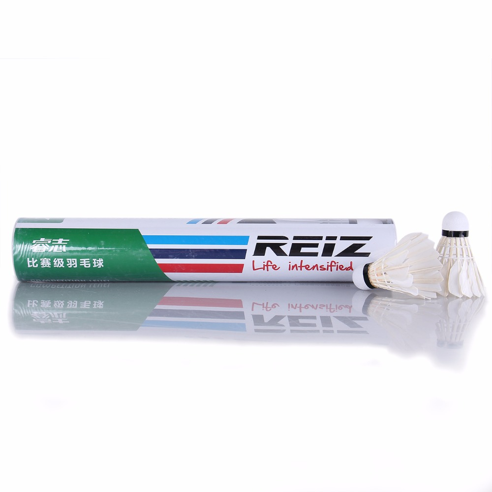 12PCS/Tube Shuttlecocks Badminton White Feather Shuttlecocks Professional Competition and Game Badminton Accessories X1
