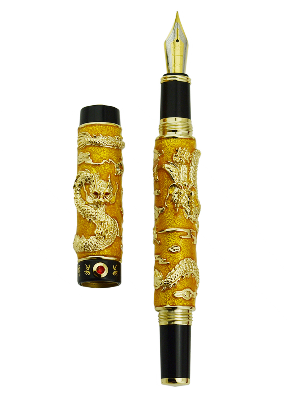 Jinhao bleu cloisonné Double Dragon stylo plume Iridium moyen plume avancée artisanat écriture cadeau stylo pour bureau d'affaires diplômé - 3