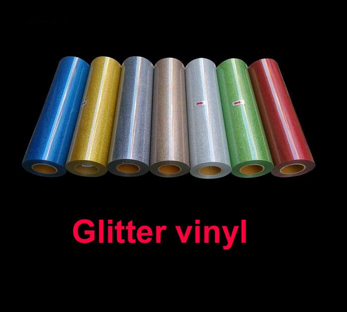 Free shipping DISCOUNT 5 pieces of 25cmx100cm Glitter vinyl for heat transfer heat press cutting plotter one yard 51cmx100cm glitter heat transfer vinyl film heat press cut by cutting plotter diy t shirt 40 colors for choosing