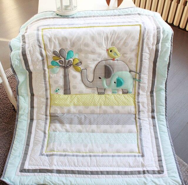 Elephants 4pc Baby Nursery Crib Bedding Set Boy Cot Lique Quilt Pers Ed Sheet Dust