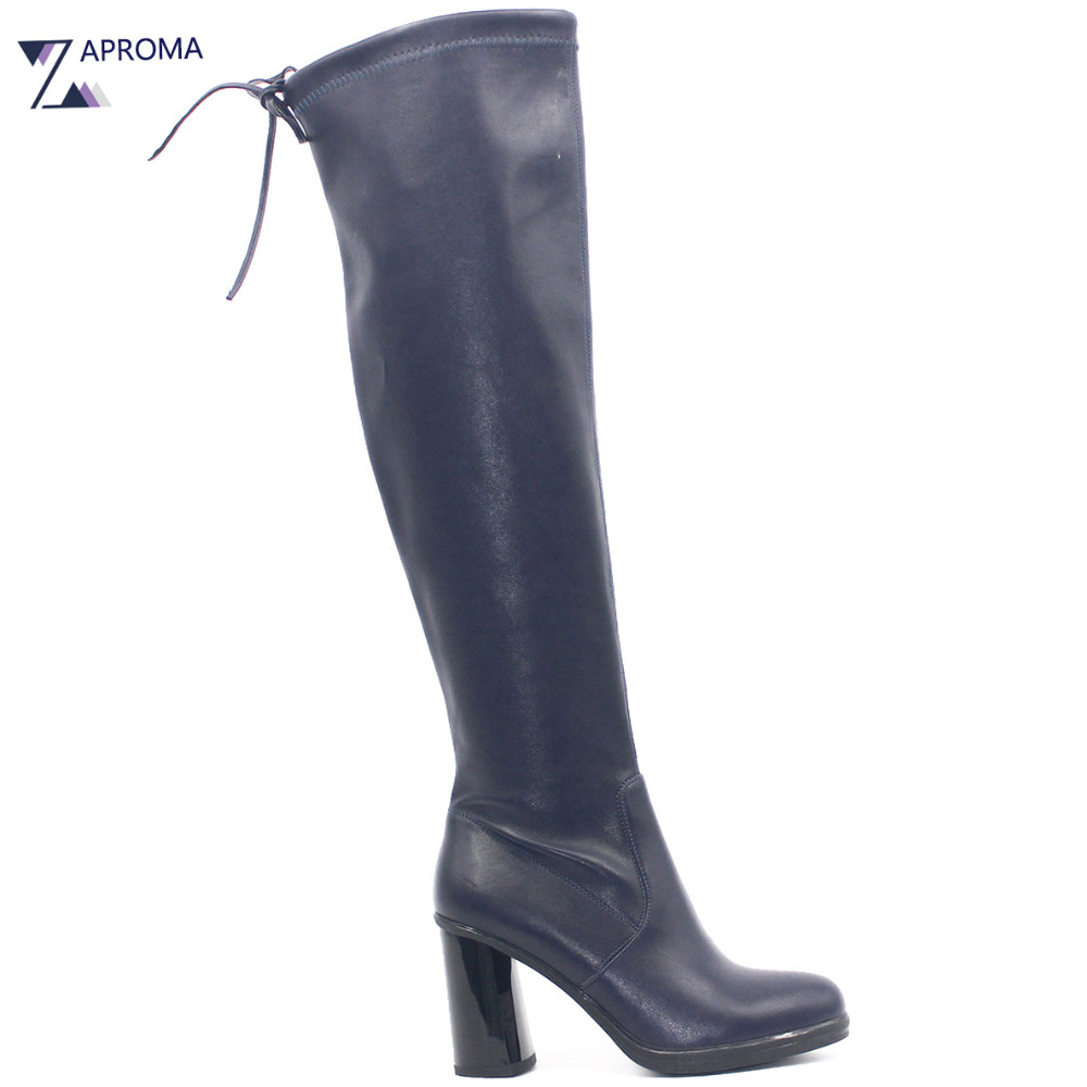 Super High Heel Women Boots Lace Up Navy Blue Fleece Winter PU Shoe Over the Knee Round Toe Narrow Band Chunky Heel Stretch Boot
