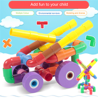 TOPQSC Kids Tunnel Building Blocks New Inserted Assembly Plastic Colorful Pipeline Toys 96pcs Educational Toy Gift