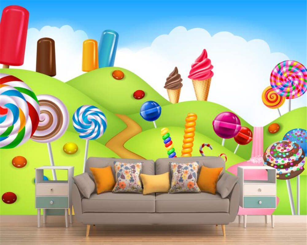 popular wall candy wallpaperbuy cheap wall candy wallpaper lots  - beibehang d wall paper senior personality decorative wallpapers dream handpainted candy dessert background wall d