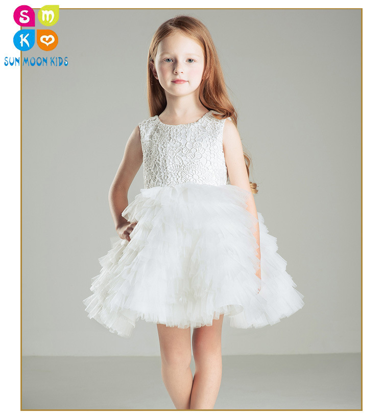 Lovely Baby Girl White Flower Dresses For Party And Wedding Kids Sequined Bow Princess Tutu Dress Kids Birthday Clothes