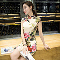 2017 New Summer Qipao Chinese Traditional Dress Floral Cheongsams Short Sleeve Qipao Dresses Mujere Vestido Party Dress Styles