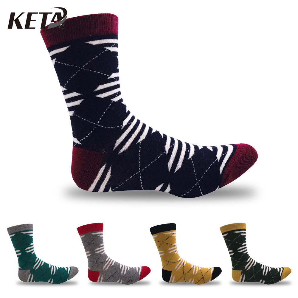 KETA Fashion Striped Men Socks Male Casual Brand Solid Cotton Socks For Men Classic Plaid Sox Meias Business Dress Socks 5Pairs