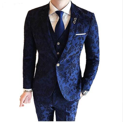 Bridegroom Mens Royal Blue Suits Slim Fit British Style Tuxedo Printing Blazer Wedding Dinner Jackets Single Button Masculino