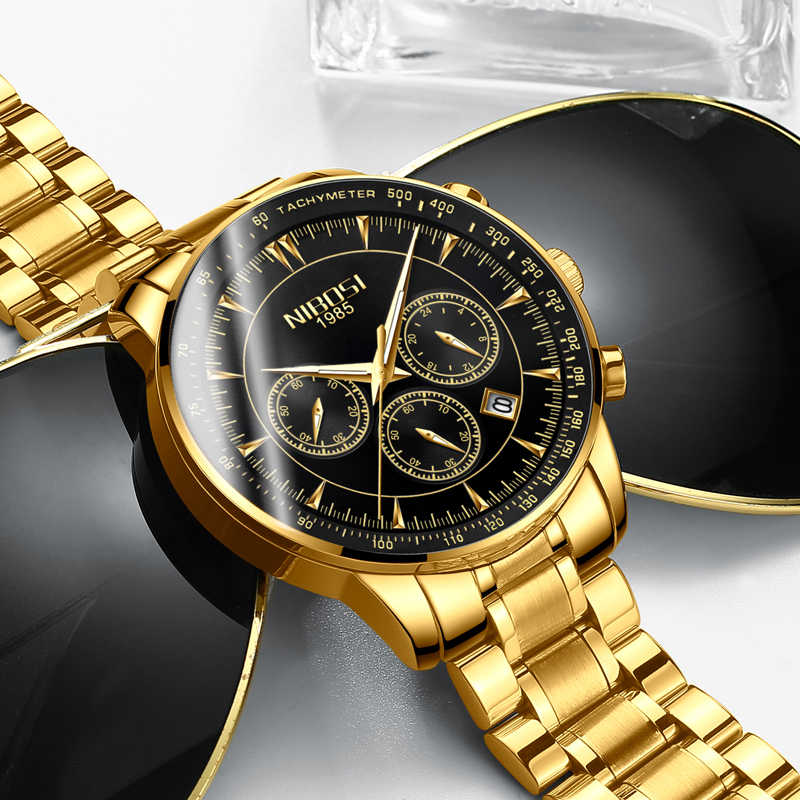 NIBOSI Элитный бренд 2019 мужские часы в повседневном стиле Дата Бизнес Кварцевые часы водостойкий полный сталь Relogio Masculino мужской