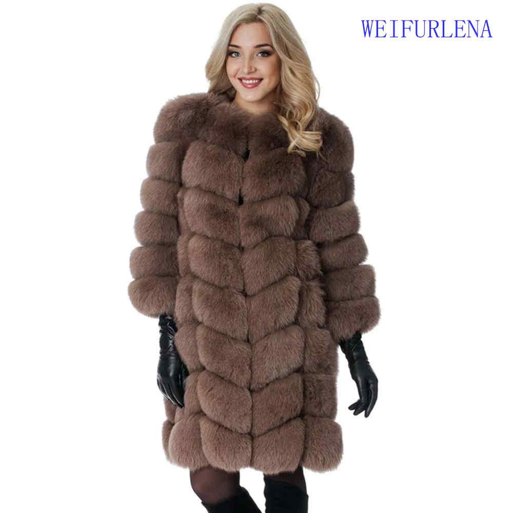 2017 90 см бренд Одежда высшего качества натурального меха пальто реального Песцовая жилетка дамы Съемная Для женщин толстый дизайн зимние па...