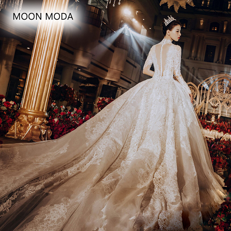 50dddad9f58d Long sleeve lace wedding dress with long tail 2019 bride plus size bridal  gown real photo