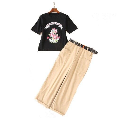 Due 2018 shirt Estate Marca Donne Set E Pantaloni Stile Multi Nero Stampato La T Con Ancoraggio A Cinghia Delle Runway Di Floreale Pieghevole Pezzi Europeo x0O0wfY1