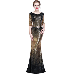 Image 5 - New arrival sequines black floor length v neck lady girl women princess bridesmaid banquet party ball dress gown