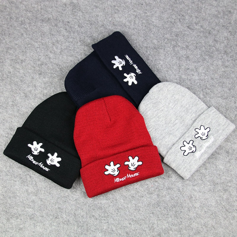 New Arrival Child Baby Hat Cap Skullies Winter Hats for Boy Girl Cute Palm Embroidery Knit Wool Beanies Gorro Fit For 1-6 Years the new children s cubs hat qiu dong with cartoon animals knitting wool cap and pile