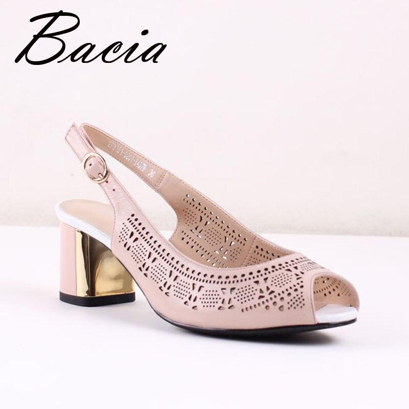 ФОТО Bacia PINK SHEEP SKIN Sandals Genuine Leather High Quality shoes Peep toe Thick Heel Handmade Shoes For Women Size 35-41 SA024