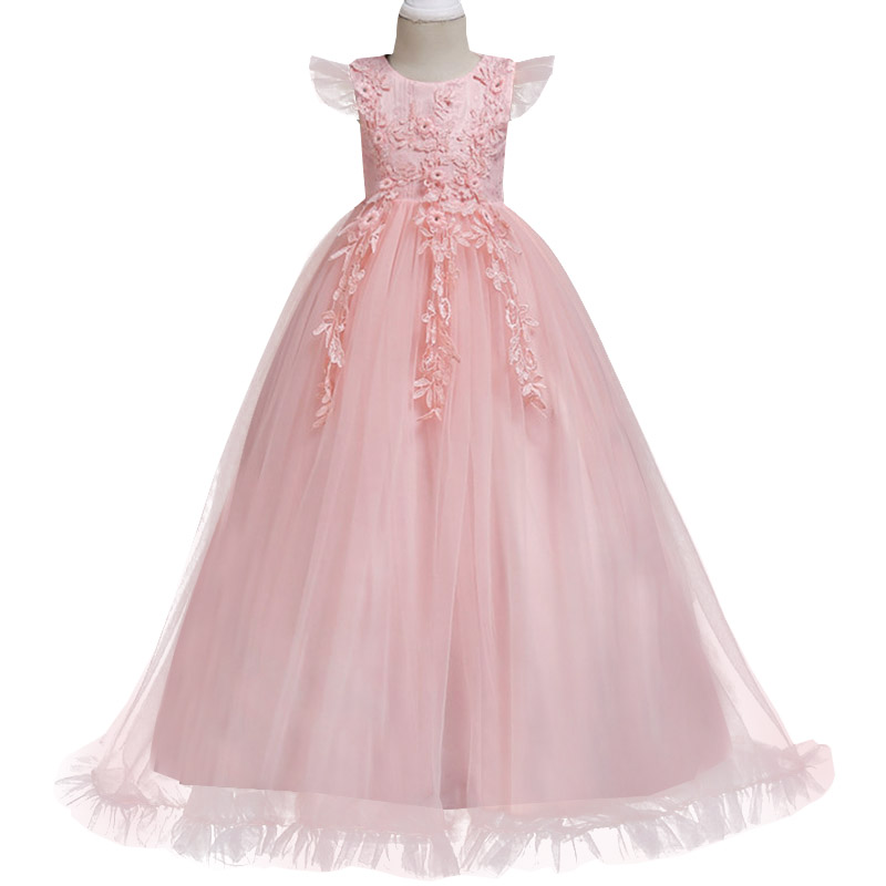 57c1fa6f2b9 Girls Princess Party Dress Girl Short Sleeve Long Party Flower Ball ...